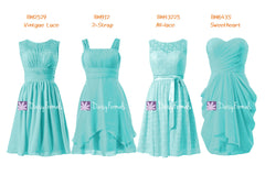 Aqua elegant bridesmaids dress short knee length turquoise party dress collection (mm66)