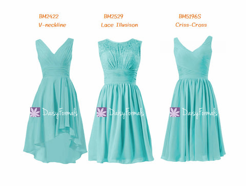 High Low Aqua Blue Knee Length Bridesmaids Dress Spa Blue Chiffon Party Dress (MM67)