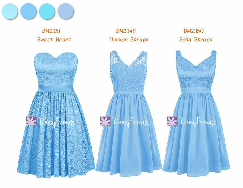Lace Mismatched Bridesmaids Dress - Chic Blue Hues (MM71)