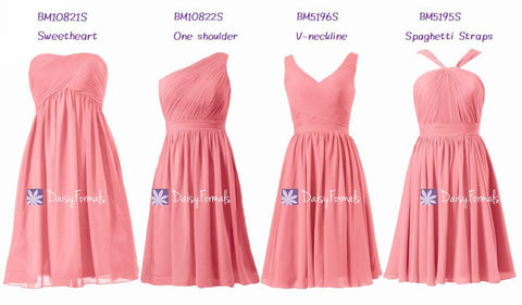 Short Mix 'n' Match Bridesmaids Dresses - Coral Berries (MM74)