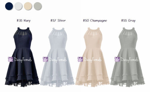 Chic Different Color High Low Mismatched Dresses - Grey & Navy (MM81)