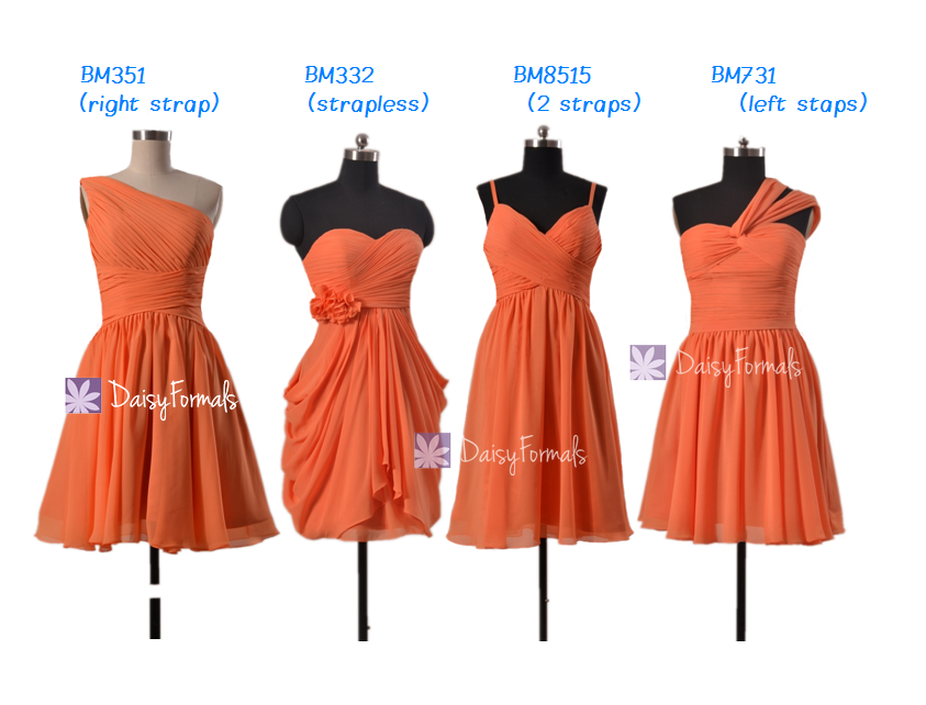 b01f86084193 Affordable Orange Bridesmaid Dress Short Knee Length Chiffon. Blush Lace  Tulle Beach Party ...