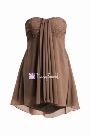 Stunning Brown Party Dress Beading Cocktail Dress High-low Evening Party Dress (Ritta)