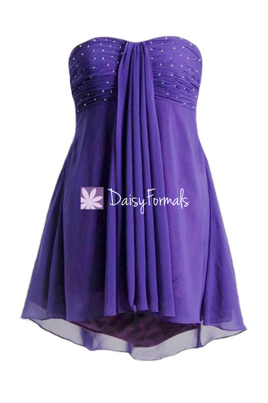 Cheap formal prom dresses with beaded bodice mystery purple high-low cocktail party dress (ritta)