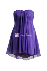 Cheap formal prom dresses with beaded bodice mystery purple high-low cocktail party dresses (ritta)