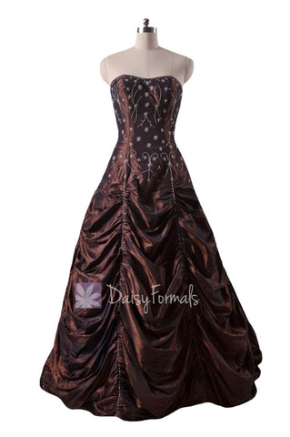 Long Dark Currant Stunning Princess Prom Dress (PR0041)