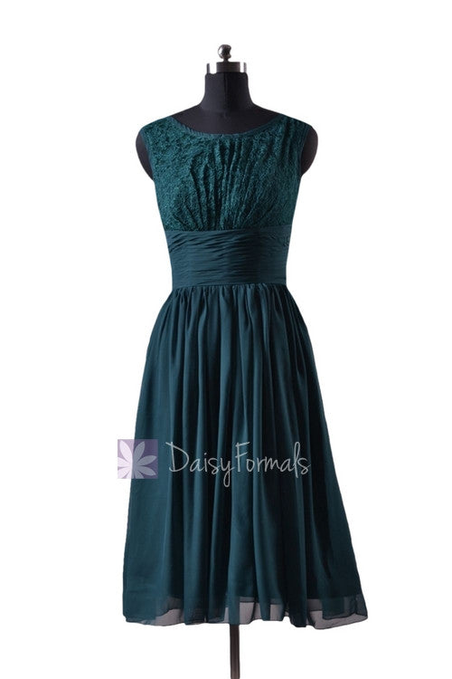 In stock,ready to ship -plus size short chiffon bridal party dress lace formal dress (bm2529) - (rich peacock)