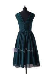 In stock,ready to ship -plus size short chiffon bridal party dress lace formal dresses (bm2529) - (rich peacock)