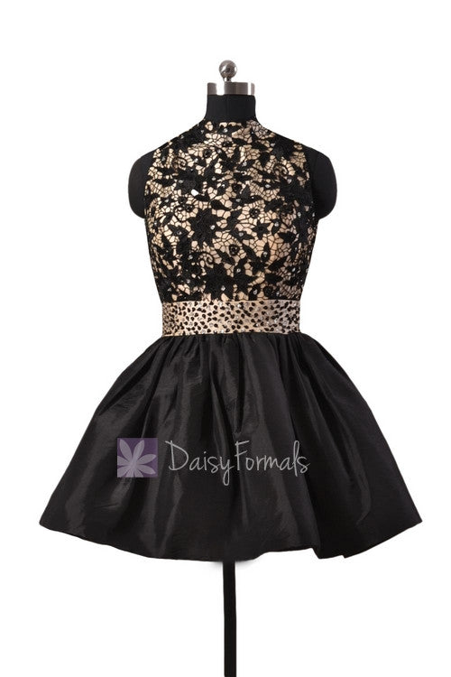 Gorgeous black taffeta formal mini prom dress w/high collar and open back(pr140425)