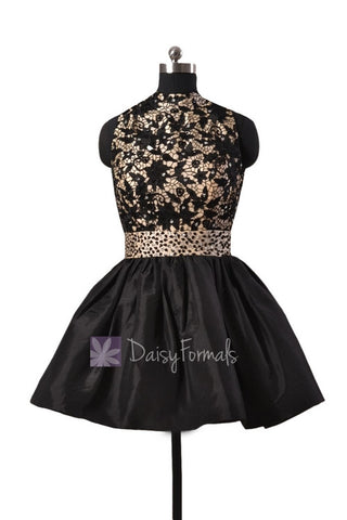 Gorgeous Black Taffeta Mini Prom Dress W/High Collar and Open Back(PR140425)