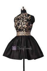 Gorgeous black taffeta formal mini prom dresses w/high collar and open back(pr140425)