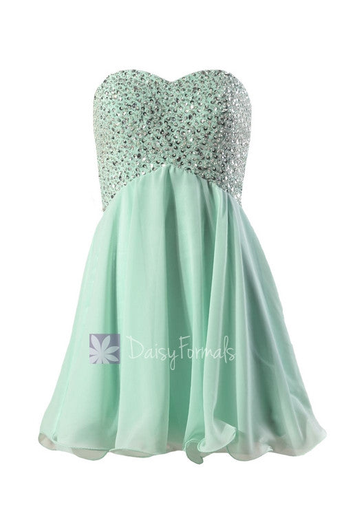 Beaded empire mini length prom dress sweetheart mint chiffon evening dress(pr140628)