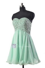 Beaded empire mini length prom dress sweetheart mint chiffon evening dresses(pr140628)