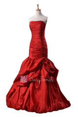 Gorgeous strapless red taffeta prom dress floor length bridal party dresses(pr2726)