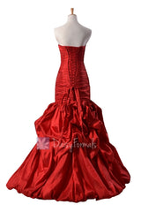Gorgeous Strapless Red Taffeta Prom Dress Floor Length Party Dress(PR2726)