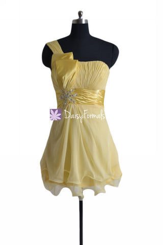 One Shoulder Cocktail Dress Banana Cocktail Party Dress Prom Dress (PR27361)