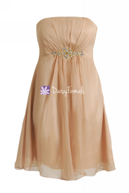 Elegant chiffon party dress chic strapless cocktail dress prom dress (pr28072)