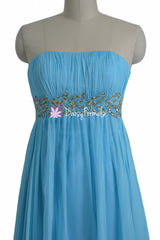 Long blue beading party dress for special occasions strapless formal dresses (pr28207)