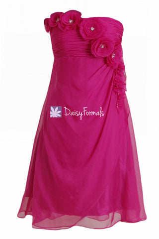 Beautiful Fuchsia Prom Dress Chic Short Chiffon Summer Party Dress Graduation Dress (PR28394)