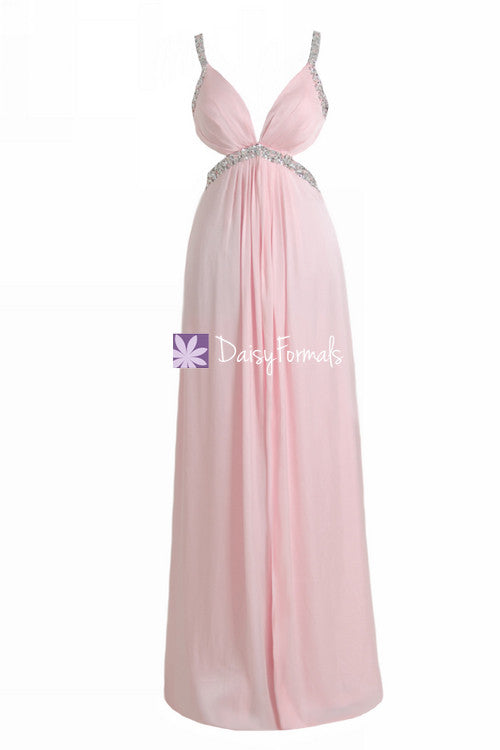 Ice pink chiffon prom dress full length alluring party dress long pink evening dress (pr28249)