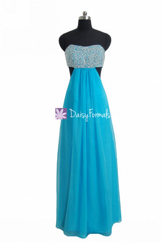 Malibu Blue Prom Dress Flirty yet Cute Party Dress with Cutouts Opening (PR28512)