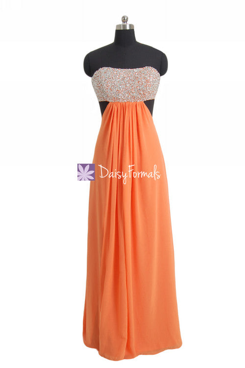 Orange flirty prom dress long fashionable strapless formal chiffon gown party dress (pr28512)