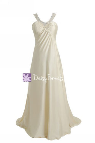 Embroidered Silk-like Satin Prom Dress Long Beaded Formal Dress Evening Dress (PR28623)