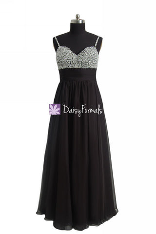 Long Beaded Party Dress Feminine Prom Dress Black Formal Dress w/ Sweetheart Bodice (PR29034L)