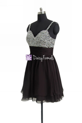 Short beaded prom dress Little Black Party Dress Miniskirt Dress Graduation Dress (PR29034S)