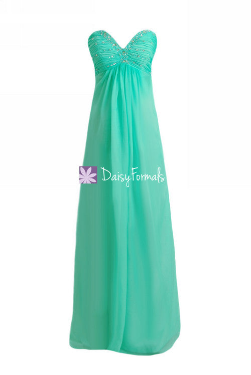 Aqua mint prom dress long strapless defined v-neckline party dress evening dress (pr29040)