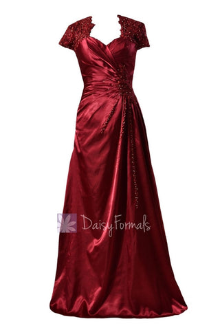 Delicate Long Sweetheart Charmeuse Prom Dress Beaded Dark Scarlet Evening Dress(PR3504)