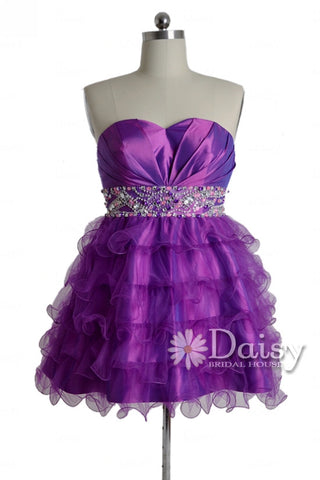 Gorgeous Purple Taffeta Mini Skirt Beaded Sweetheart Organza Prom Dress(PR47634)