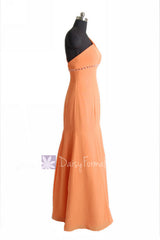 Long mute orange chiffon bridesmaid dress trumpet one shoulder prom dresses(bm6515)