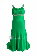 Fabulous beaded charmeuse formal dress elegant green evening dresses w/scoop neckline(pr6540)