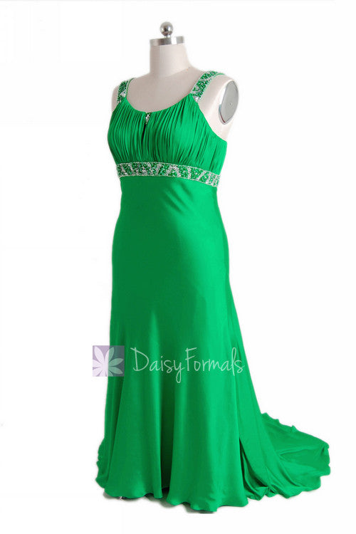 Fabulous beaded charmeuse formal dress elegant green evening dress w/scoop neckline(pr6540)