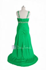 Fabulous Beaded Charmeuse Formal Dress Green Evening Dress W/Scoop Neckline(PR6540)