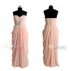 Sweetheart long apricot prom dress beaded a-line chiffon formal evening dresses(pr72168)