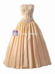 Amazing embroidery wedding party dress strapless semi sweetheart wedding gown (tatiana)