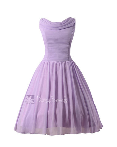 Lavender Tea Length Dress Vintage Inspired Lavender Chiffon Prom Dress Tea Length Party Dress(BM1639)