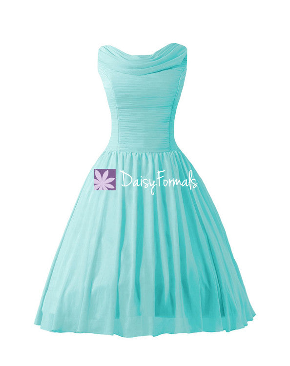 Tea Length Party Dress Vintage Inspired Tiffany Blue Chiffon ...