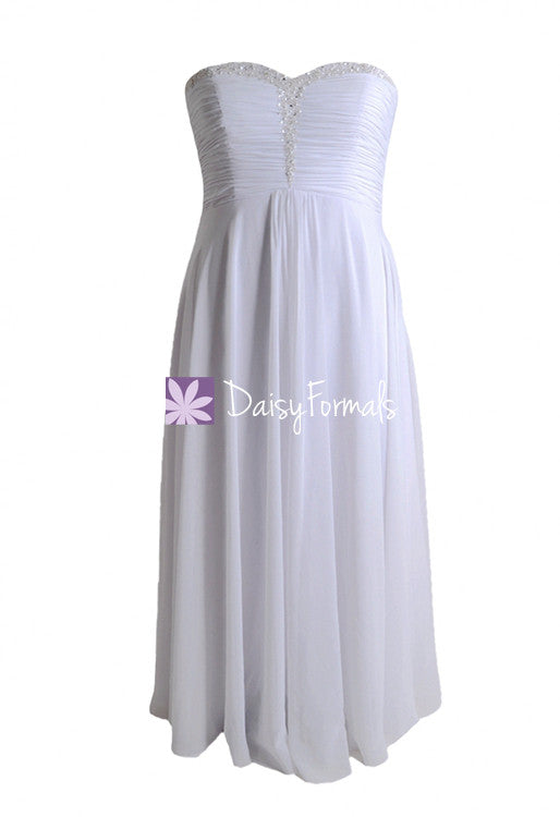Strapless chiffon elegant wedding party dress white bridal gown for beach wedding (wd2171)