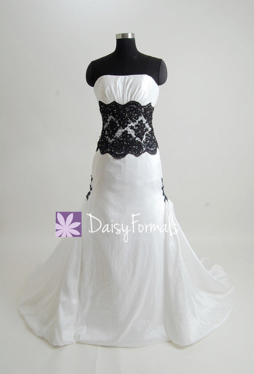 Charming strapless wedding party dress fit & flare black lace formal wedding gown (beth)