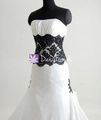 Charming strapless wedding party dress fit & flare black lace formal wedding gowns (beth)