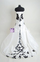 Charming Strapless Wedding Dress Fit & Flare Black Lace Wedding Gown (Beth)