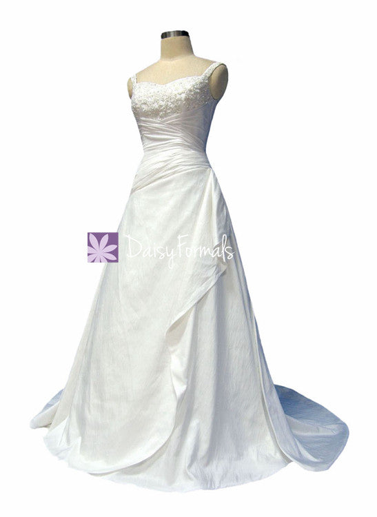 Graceful a line wedding party dress full length formal bridal gown w/richful beading, straps (wd58135)