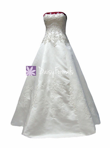 Luxury Embroidery Wedding Dress Long Colorful Wedding Gown W/Chapel train (WD58202)