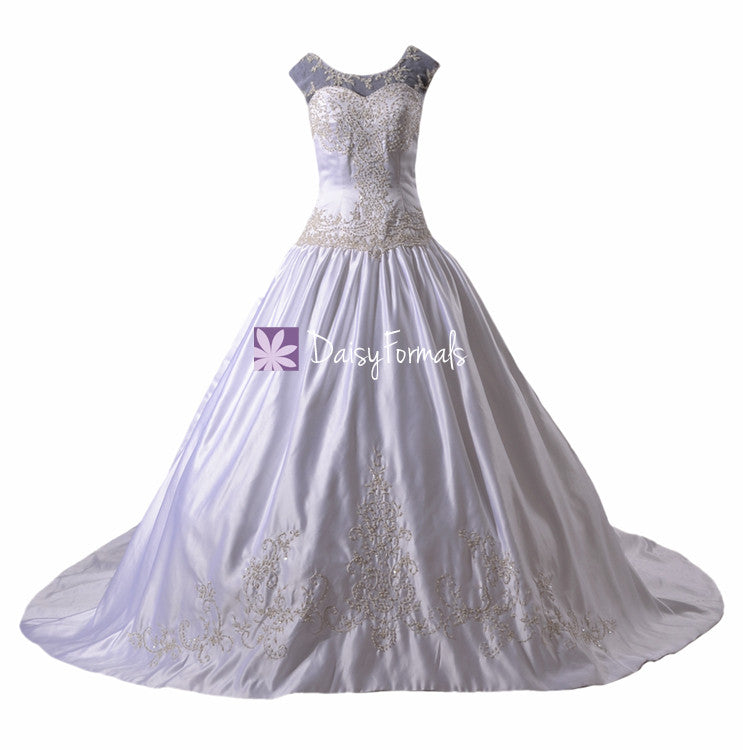 Appealing modest wedding dress luxury embroidery formal ball gown bridal gown (wd8759)