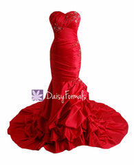Affordable sweet-heart neckline wedding bridesmaid dress long red wedding party dress with train(wd8809)