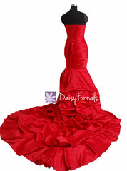 Affordable sweet-heAffordable sweet-heart neckline wedding bridesmaid dress long red wedding party dresses with train(wd8809)