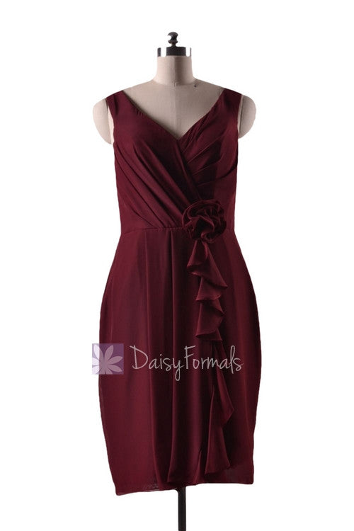 In stock,ready to ship - short knee length sheath v-neck red bridesmaid dress(bm266) - (falu red)
